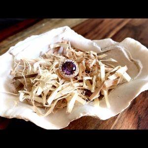 Unisex Rose Gold, Amethyst w/ Diamonds Pinky Ring.